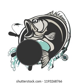 Fishing bass logo. Bass fish with rod club emblem. Fishing theme illustration. Fish Isolated on white.