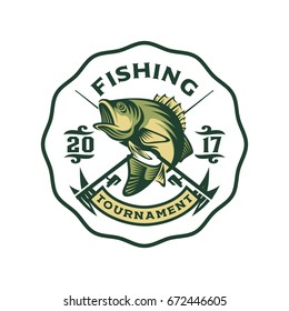 Fishing bass logo template