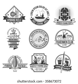 Fishing black white emblems set with fishing club and equipment symbols flat isolated vector illustration