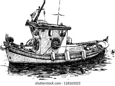 Ilustraciones Imágenes Y Vectores De Stock Sobre Barco Pesquero En
