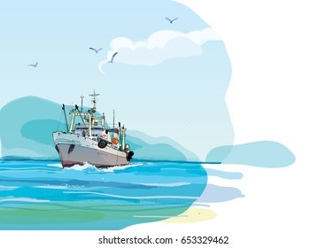 Fishing boat against the shore. Hand drawn colored sketch illustration