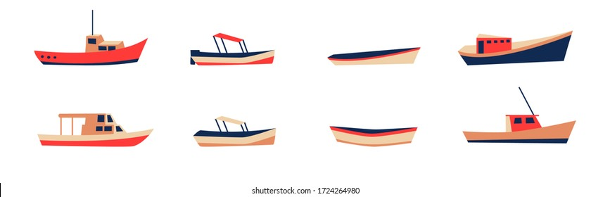 Fishing boat drawing set isolated on white. Colorful icon collection. Small ships in cute flat design. Kid toy style. Vector illustration.
