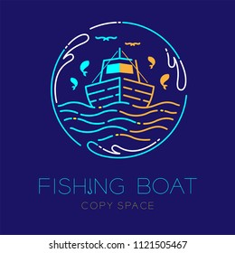 Fishing boat, fish, seagull, wave and Water splash circle frame shape logo icon outline stroke set dash line design illustration isolated on dark blue background with fishing boat text and copy space