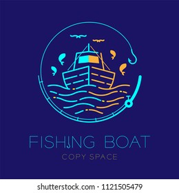Fishing boat, fish, seagull, wave and Fishing rod circle shape logo icon outline stroke set dash line design illustration isolated on dark blue background and copy space