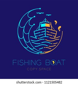 Fishing boat, fish, seagull, wave and Fishing net circle shape logo icon outline stroke set dash line design illustration isolated on dark blue background and copy space