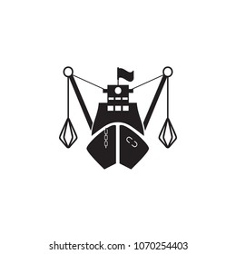 fishing boat in front icon. Element of ship illustration. Premium quality graphic design icon. Signs and symbols collection icon for websites, web design, mobile app on white background