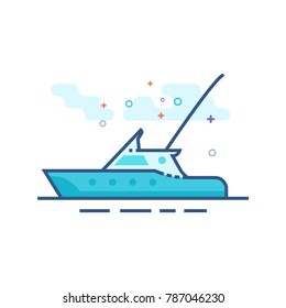 Fishing boat icon in outlined flat color style. Vector illustration.