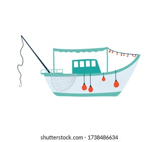 Fishing boat isolated on white background in a flat style. Children's illustration for design of children's rooms, clothing, textiles.Vector illustration