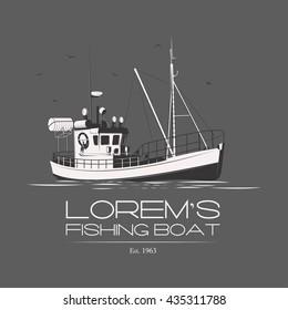Fishing boat logo badge label on grey background. Vector. Editable