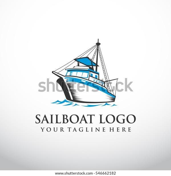 fishing boat logo template. Vector Illustration eps.10