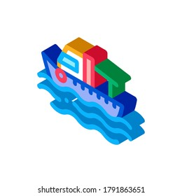 Fishing Boat On Water Wave Icon Vector. Isometric Motor Boat, Sea Transport, Cruise Motorboat sign. color isolated symbol illustration