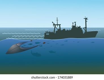Fishing boat pulls trawl net, capturing the fish.