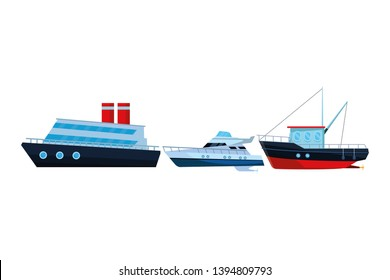 Fishing boat sea travel cruiseship and yatch