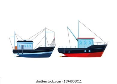 Fishing boat sea travel pair