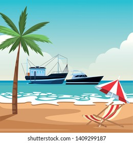 Fishing boat sea travel and work vehicle with lines and nets and yatch beach shore umbrella and chair with palm tree background vector illustration graphic design
