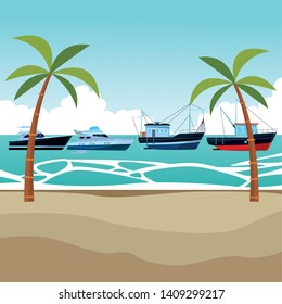 Fishing boat sea travel and work vehicle with lines and nets and yatch pair palm trees background vector illustration graphic design