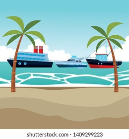 Fishing boat sea travel and work vehicle with lines and nets cruiseship and yatch palm trees background vector illustration graphic design