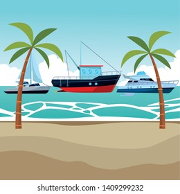 Fishing boat sea travel and work vehicle with lines and nets sailboat and yatch palm trees background vector illustration graphic design