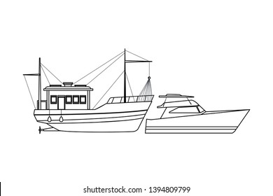 Fishing boat sea travel and yatch black and white