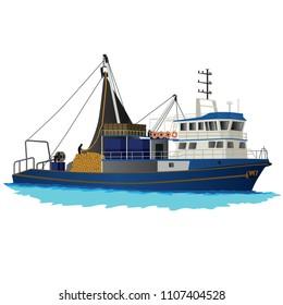 fishing, boat, ship, vector, art
