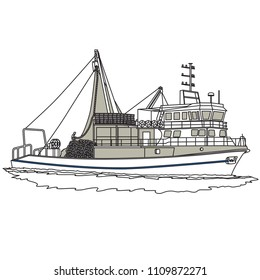 fishing boat. ship. vector, art.