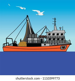 fishing, boat, ship, vector, art