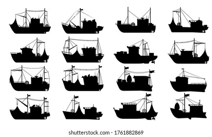 Fishing boat silhouette. Flat vector isolated fishing boat ship transport icon collection. Sea travel transportation yacht, trawler, seiner nautical vessel silhouettes