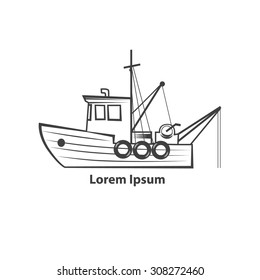 fishing boat, simple illustration, for logo