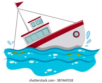 Fishing boat sinking in the ocean illustration