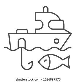 Fishing boat thin line icon. Sailboat and fish vector illustration isolated on white. Fishing yacht outline style design, designed for web and app. Eps 10