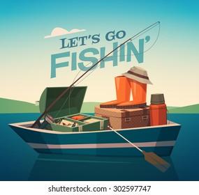 Fishing boat. Vector illustration.