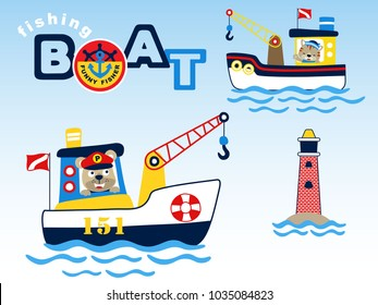 Fishing boats cartoon vector with cute fisher