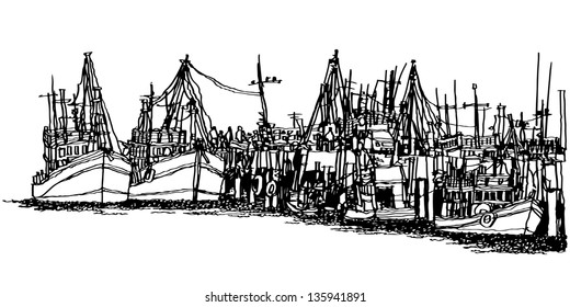 Fishing boats in the harbor in Thailand : sketchbook style EPS.10 vector