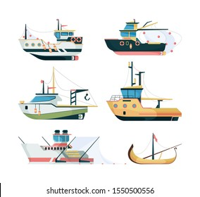 Fishing boats. Marine sailing transport for fishing big and small ships vector flat style