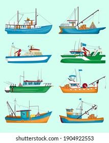 Fishing boats set. Traditional fisherman trawlers, ships with cranes and cargo isolated on pale blue. Vector illustration for food industry, marine job, transportation concept