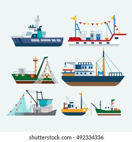 Fishing boats and Ships