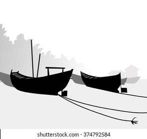 Fishing Boats Silhouette - Vector