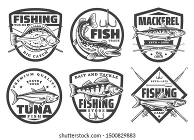 Fishing camp club, fisherman fish catch tours and tackles equipment store icons. Vector sea and ocean fishing trips, baits and rods for flounder, mackerel or pike and tuna fish catch on rod hook