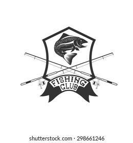 fishing club crest with trout