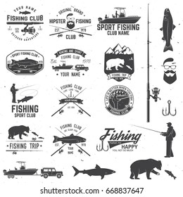 Fishing club with design elements. Vector illustration. Concept for shirt or logo, print, stamp or tee. Vintage typography design with fish rod silhouette, fishing boat and fisher.