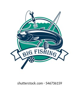 Fishing club emblem. Vector fisherman sport adventure sign with circle badge and big catfish or eel fish caught on fishing rod with floats and hooks in river water with ribbon design