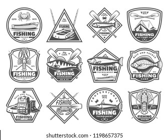 Fishing club or fisher camp icons of fish and rod tackles. Vector fisherman camp tent, boat with paddles and hooks, crab lobster or salmon, flounder and marlin, rubber boots and fishing haversack