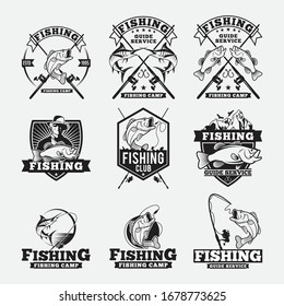 Fishing club or fisher sport adventure expedition icons.