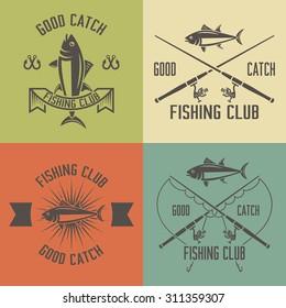 Fishing club set of vector vintage labels, badges, emblems, logos