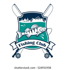 Fishing club sign. Vector isolated fisherman sport club emblem with fish hooked on fishing rod. Fishery adventure sport camp badge ribbon.
