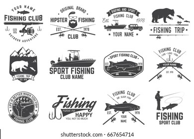 Fishing club. Vector illustration. Concept for shirt or logo, print, stamp or tee. Vintage typography design with fish rod silhouette.