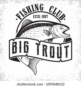 Fishing club vintage logo design, emblem of the trout fishermen, grange print stamps, fisher typography emblem, Vector