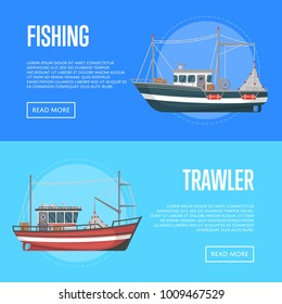 Fishing company flyers with trawlers. Vintage marine flotilla of ships, sea or ocean nautical transportation. Commercial small boats for traditional industrial seafood production vector illustration.