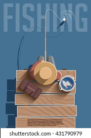 Fishing competition vector poster. Fisherman with fishing rod. Fishing equipment