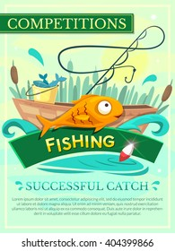 Fishing competition vector poster, with the wish of a successful catch